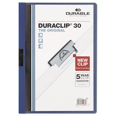 Vinyl DuraClip Report Cover, Letter, Holds 30 Pages, Clear/Dark Blue