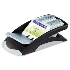 Durable VISIFIX Desk Business Card File Holds 200 4 1/8 x 2 7/8 Cards, Graphite/Black