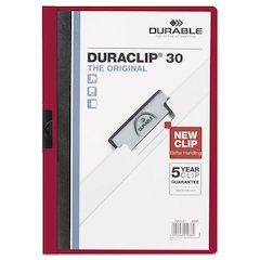 Durable Vinyl DuraClip Report Cover w/Clip, Letter, Holds 30 Pages, Clear/Maroon