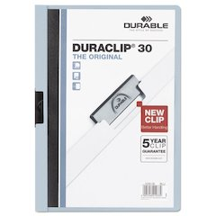 Vinyl DuraClip Report Cover w/Clip, Letter, Hold 30 Pages, Clear/Lt Blue, 25/BX