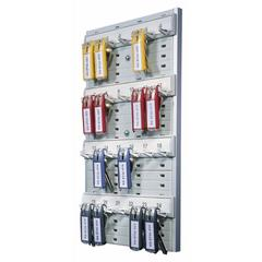 "Durable Key Rack, 24-Tag Capacity, 8 3/8"" x 1 3/8"" x 14 1/8"", Gray Plastic"
