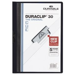 Durable Vinyl DuraClip Report Cover w/Clip, Letter, Holds 30 Pages, Clear/Navy