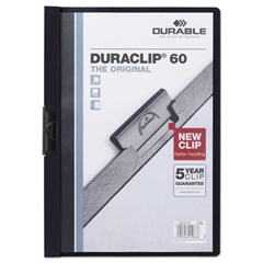 Durable Vinyl DuraClip Report Cover w/Clip, Letter, Holds 60 Pages, Clear/Navy