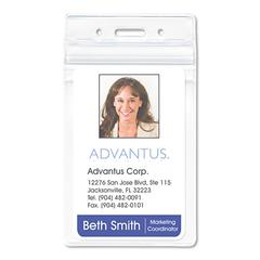 "Advantus PVC-Free Badge Holders, Vertical, 3"" x 4"", Clear, 50/Pack"