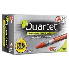 Quartet EnduraGlide Dry Erase Marker, Chisel Tip, Red, Dozen