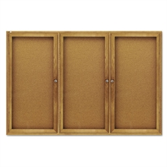 Quartet Enclosed Bulletin Board, Natural Cork/Fiberboard, 72 x 48, Oak Frame