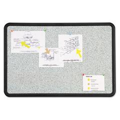 Contour Granite Gray Tack Board, 48 x 36, Black Frame
