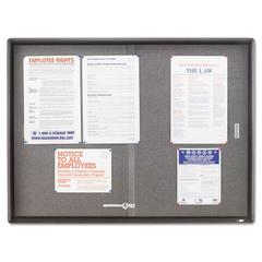 Quartet Enclosed Bulletin Board, Fabric/Cork/Glass, 48 x 36, Gray, Aluminum Frame