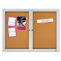 "Quartet Enclosed Cork Bulletin Board, Cork/Fiberboard, 48"" x 36"", Silver Aluminum Frame"