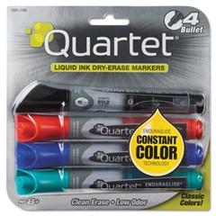 Quartet EnduraGlide Dry Erase Marker, Bullet Tip, Assorted Colors, 4/Set