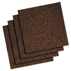 Quartet Cork Panel Bulletin Board, Brown, 12 x 12, 4 Panels/Pack