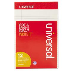 Universal Colored Perforated Note Pads, Narrow Rule, 5 x 8, Gray, 50 Sheet, Dozen