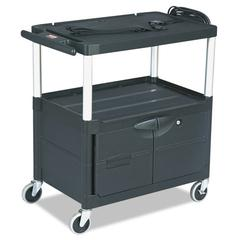 MediaMaster Three-Shelf AV Cart with Cabinet, 18-5/8w x 32-1/2d x 32-1/8h, Black