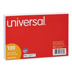 Universal Ruled Index Cards, 4 x 6, White, 100/Pack