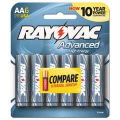 Rayovac Alkaline High Energy Batteries, AA, 6/Pk
