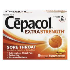 Extra Strength Sore Throat Lozenges, Honey Lemon, 16 Lozenges