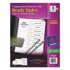 Ready Index Customizable Table of Contents, Unpunched, 8-Tab, Ltr, 5 Sets