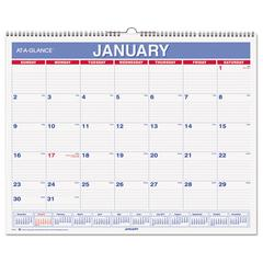 AT-A-GLANCE Monthly Wall Calendar, 15 x 12, Red/Blue, 2017