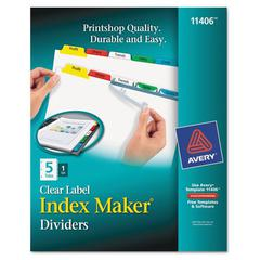 Avery Index Maker Print & Apply Clear Label Dividers w/Color Tabs, 5-Tab, Letter