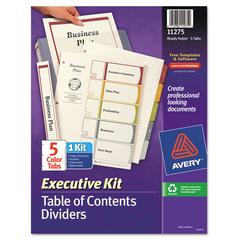 Avery Ready Index Customizable Executive Table of Contents, Asst Dividers, 5-Tab, Ltr