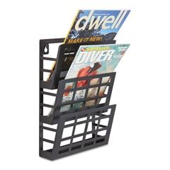Safco Grid Magazine Rack, Three Compartments, 9-1/2w x 5-1/2d x 13-1/2h, Black
