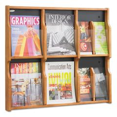 Safco Expose Adj Magazine/Pamphlet Six Pocket Display, 29-3/4w x 26-1/4h, Medium Oak