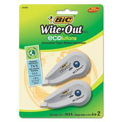 "Wite-Out Ecolutions Mini Correction Tape, White, 1/5"" x 235"", 2/Pack"