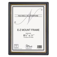NuDell EZ Mount Document Frame with Trim Accent, Plastic, 8-1/2 x 11, Black/Gold