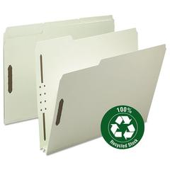 "Smead Recycled Pressboard Fastener Folders, Letter, 2"" Exp., Gray/Green, 25/Box"