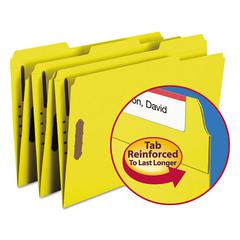 Smead Folders, Two Fasteners, 1/3 Cut Assorted, Top Tab, Legal, Yellow, 50/Box