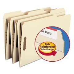 Smead Folder, Two Fasteners, 1/3 Cut Assorted, Top Tab, Legal, Manila 50/Box