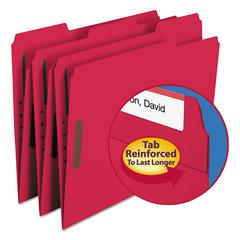 Folders, Two Fasteners, 1/3 Cut Assorted, Top Tab, Letter, Red, 50/Box