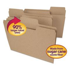 Tree Free SuperTab File Folders, 1/3 Cut, Letter, Natural Brown, 100/BX