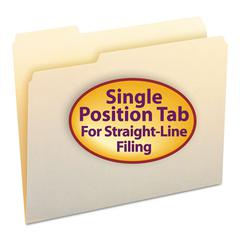 Smead File Folders, 1/3 Cut First Position, One-Ply Top Tab, Letter, Manila, 100/Box