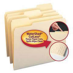 WaterShed/CutLess File Folders, 1/3 Cut Top Tab, Letter, Manila, 100/Box