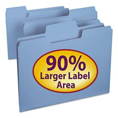 SuperTab Colored File Folders, 1/3 Cut, Letter, Blue, 100/Box