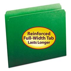File Folders, Straight Cut, Reinforced Top Tab, Letter, Green, 100/Box