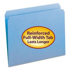File Folders, Straight Cut, Reinforced Top Tab, Letter, Blue, 100/Box