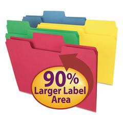Smead SuperTab Colored File Folders, 1/3 Cut, Letter, Assorted, 100/Box