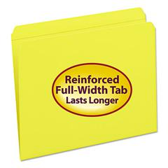 File Folders, Straight Cut, Reinforced Top Tab, Letter, Yellow, 100/Box