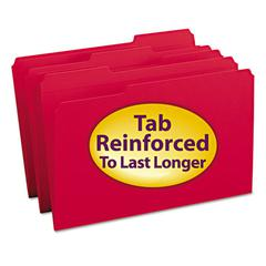 File Folders, 1/3 Cut, Reinforced Top tab, Legal, Red, 100/Box