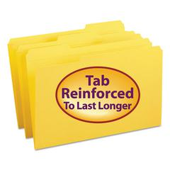 File Folders, 1/3 Cut, Reinforced Top Tab, Legal, Yellow, 100/Box