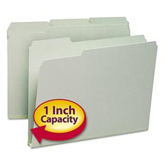 Recycled Folder, One Inch Expansion, 1/3 Top Tab, Letter, Gray Green, 25/Box