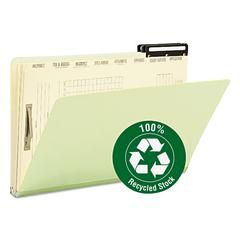 Pressboard Mortgage File Folder with Dividers & Metal Tab, Legal, Green, 10/Box