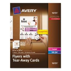 Avery Flyers w/Tear-Away Cards, 8 1/2 x 11, White, 5 Flyers/120 Cards