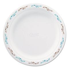 "Molded Fiber Dinnerware, Plate, 8 3/4""Dia, White, Vines Theme, 500/Carton"