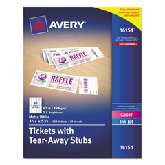 Avery Printable Tickets w/Tear-Away Stubs, 8 1/2 x 11, White, 10/Sheet, 20Sheets/Pack