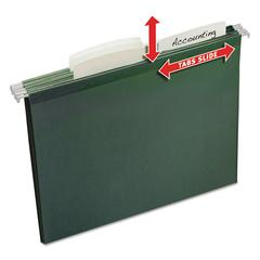 Slide & Lift Tab Hanging File Folders, Letter, 1/3 Cut, Green, 12/Pack