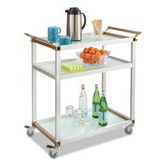 Safco Large Refreshment Cart, Three-Shelf, 32w x 16 3/4d x 35h, Silver