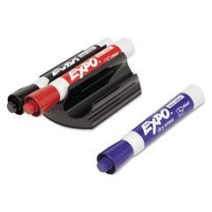 Magnetic Clip Eraser w/3 Markers, Chisel, Black/Blue/Red, 1 Set